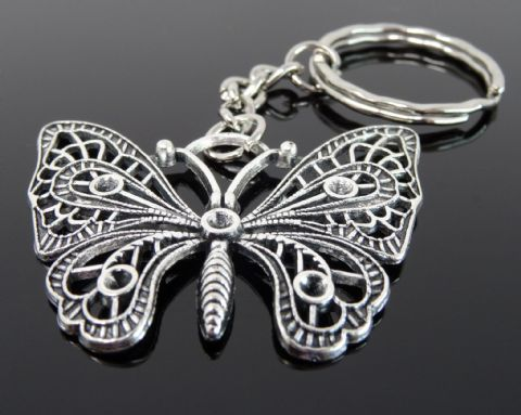 Silver Tone Keyring (M307) - Butterfly